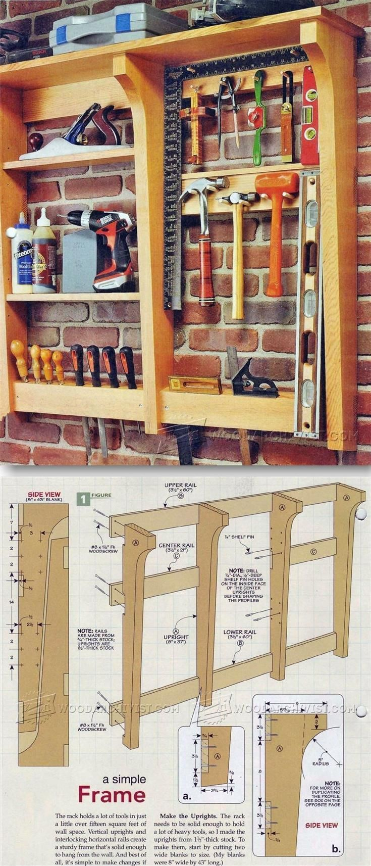 Wall Tool Rack Plans - Workshop Solutions Plans, Tips and Tricks | http://WoodArchivist.com