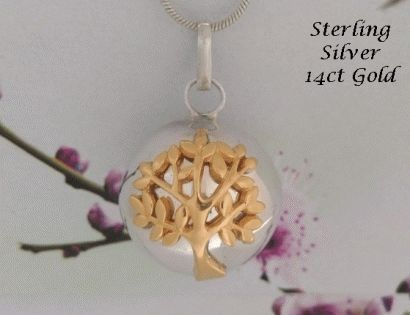 Unique Harmony Ball 14ct Gold 'Tree of Life' on 925 Sterling Silver Chime Ball from www.harmonyballpendant.com .... #harmonyball #giftsforwomen #mothersday #mothersdaygiftideas #jewelry #jewellery #womensfashion #angelcaller #bolanecklace also found at https://www.etsy.com/shop/HarmonyBalls and www.harmonyball.net.au ... https://harmonyballs.blogspot.com/ .... https://www.facebook.com/HarmonyBalls/