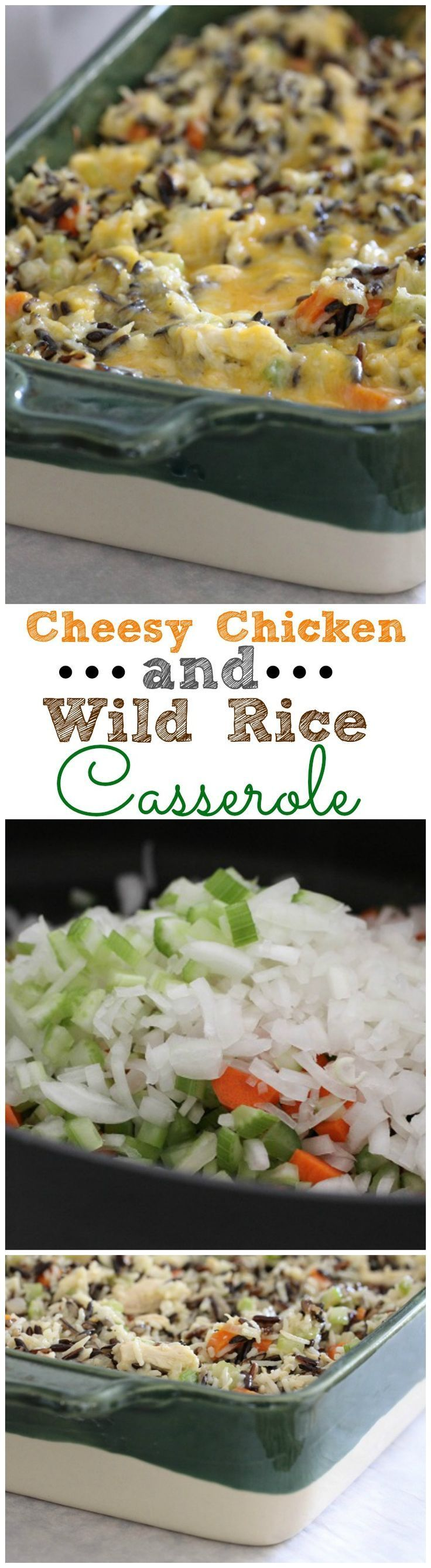 Cheesy Chicken and Wild Rice Casserole.  Great freezer meal to package up for friends in need of dinner!