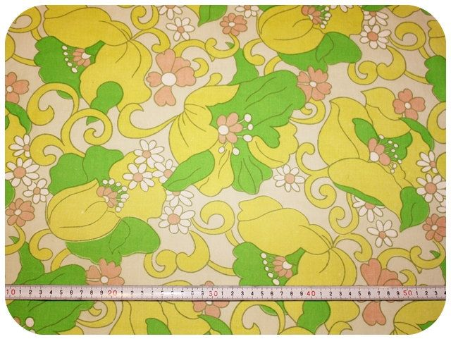 Floral retro vintage fabric  yellow green and by MirjamTheresa, $8.00