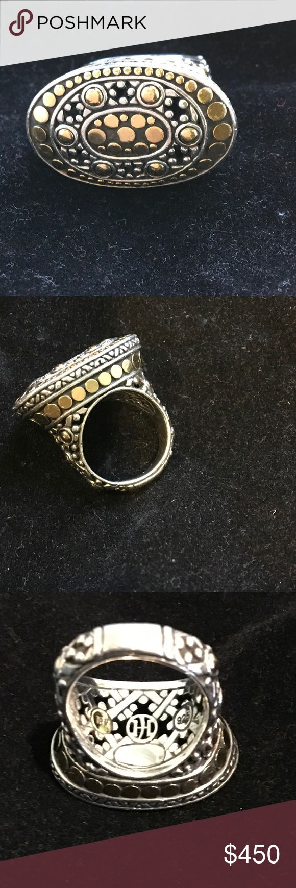 John Hardy Jaisalmer Dot Ring This is an Authentic John Hardy Ring from the Jaisalmer Dot collection. It features 18K yellow gold accents and sterling silver. The ring is in excellent condition with no signs of wear. John Hardy Jewelry Rings