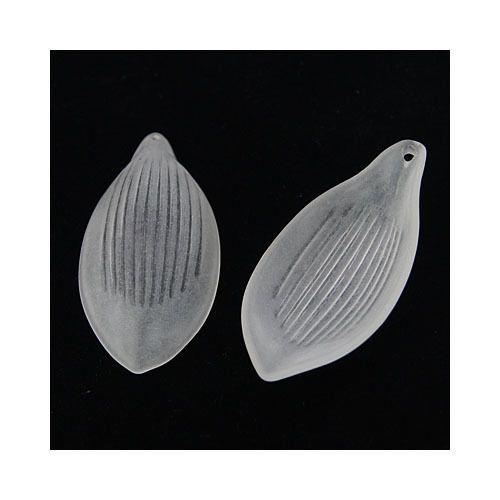 2,02+0 somethingcrafty Packet of 10 x White Lucite 27 x 48mm Leaf Beads HA26970