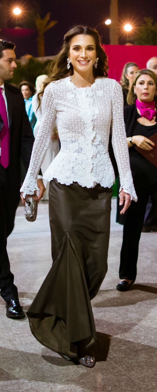 June 7, 2015, Queen Rania, Elie Saab long skirt