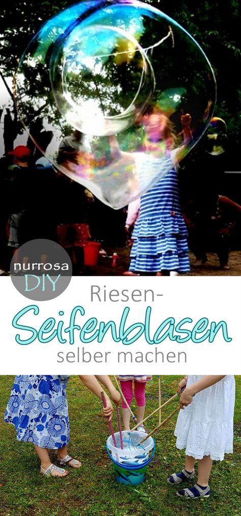 Große Seifenblasen / Riesenseifenblasen selber machen #Anleitung #Rezept #DIY #basteln #Kinder #kids #Familie #family #Party #Geburtstag #Spiel #Spiele #Seifenblasen