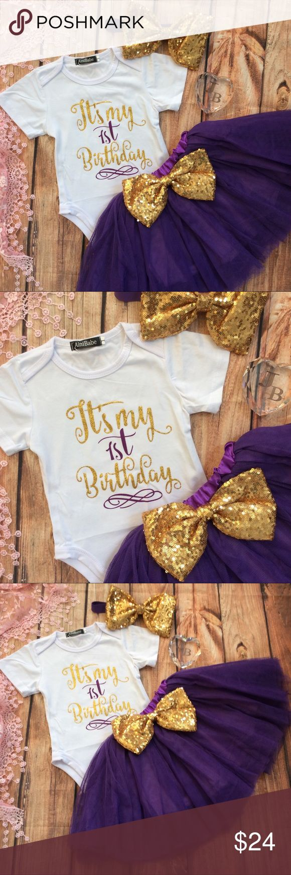 Boutique Baby Girl 1st Birthday Tutu 3pc Outfit Precious white short sleeve onesie with purple ITS MY FIRST BIRTHDAY across the front in purple and glitter gold. Matching full dark purple Tutu chiffon skirt with lining. Large gold sequin bow at waist. Includes a large gold sequin headband. Perfect for birthday party, cake smash photos and dress up for photos on this special milestone event!! Dresses