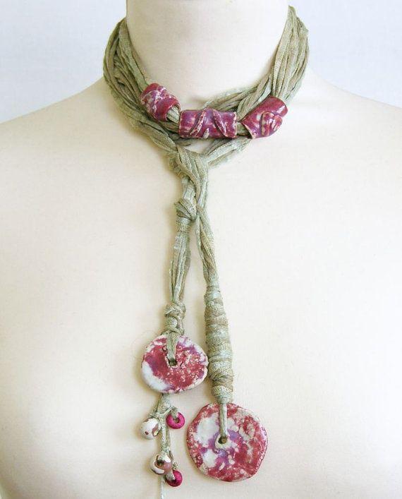 Skinny scarf lariat fiber necklace scarf necklace by piabarile, $29.00: Ceramics Beads, Skinny Scarfs, Necklaces Scarfs, Ceramic Beads, Lariat Fiber, Fiber Necklaces, Beads Women, Ooak Ceramics, Scarfs Necklaces