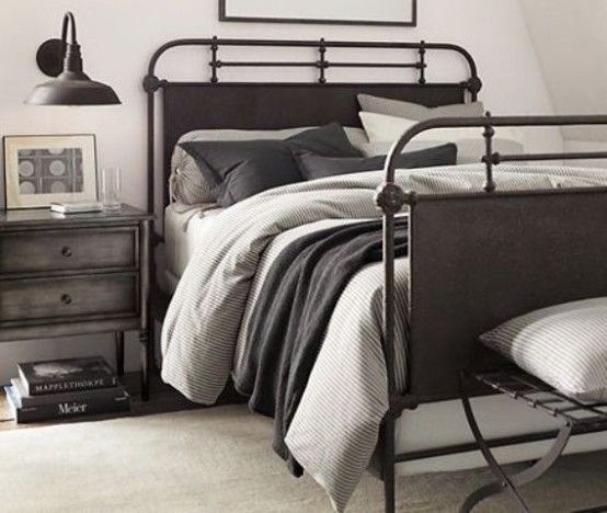 The drawstring pillow at the back of the bed.   Making A Statement In Your Bedroom: 25 Edgy Industrial Beds | DigsDigs