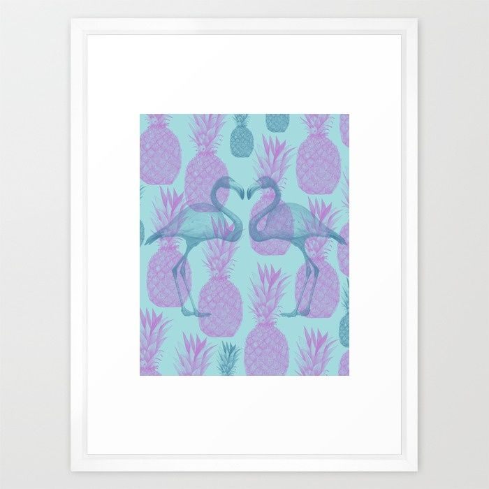 Tropical Framed Art Print by Kunda.  #tropical #flamingo #pineapple #artprint #summer #wallart #decor