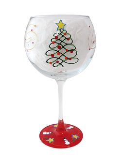 Hand Painted Christmas Wine Glasses | Holiday Balloon Red Wine Glasses & Painted Red Wine Glasses | Balloon ...