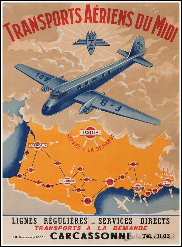 """Une belle affiche des """"Transports Aériens du Midi"""", une compagnie fondée à Carcassonne en 1946 par Robert Ménard. Collection: Chroniques de Carcassonne"""
