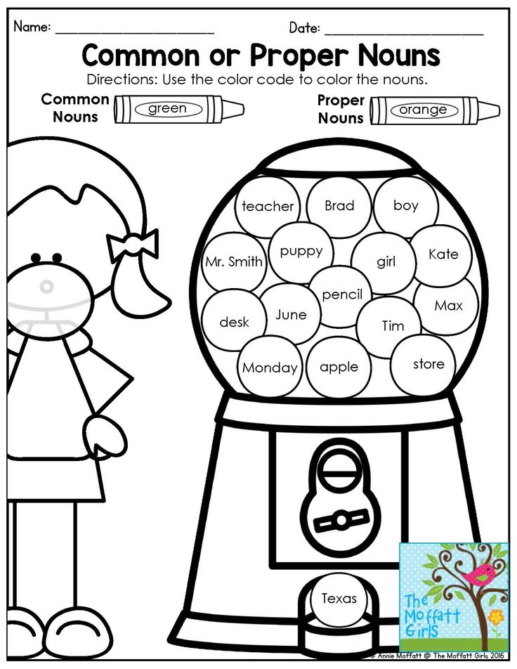 Identifying common and proper nouns. Fun grammar activity for 1st grade!