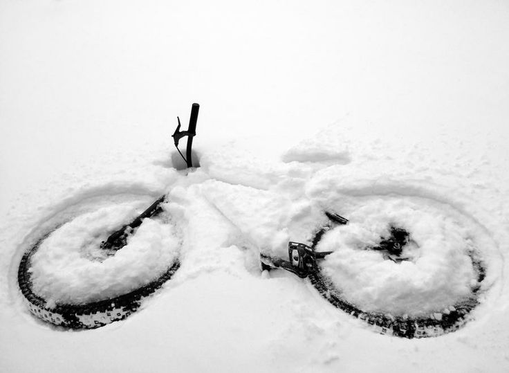 Bike making an impression in the snow!