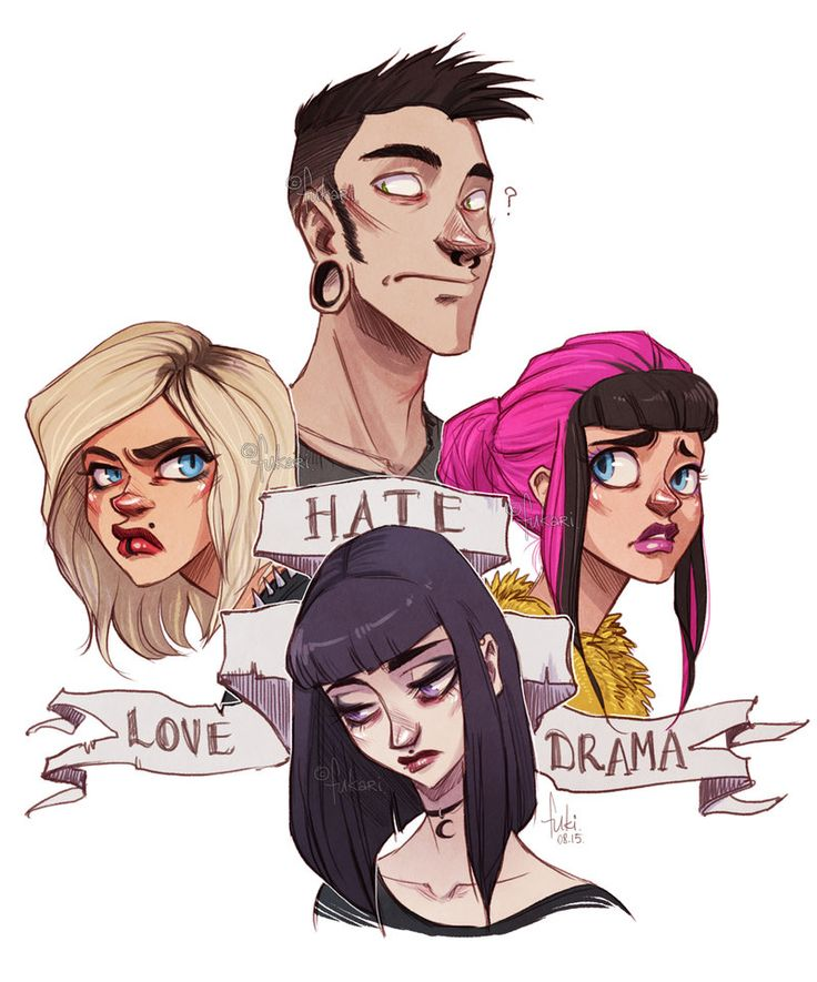 * what an old picture! * background story: Vadera (blond one) is ex gf of George (guy at the top) G and Franka (pink hair) are friends, spend some time together what makes V jealous. Offelia is Fra...