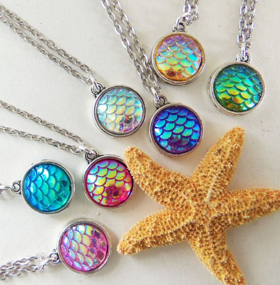 Mermaid scale necklace fish scale necklace by BubbleGumGraffiti