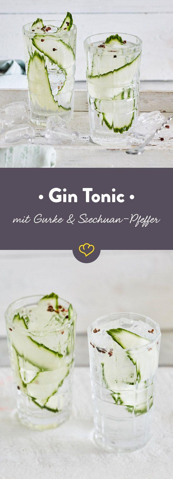 Hast du Lust auf einen fantastisch erfrischenden Gin Tonic? Dann veredle deinen Lieblingsdrink mit frischer Gurke und scharf-würzigem Szechuan Pfeffer.