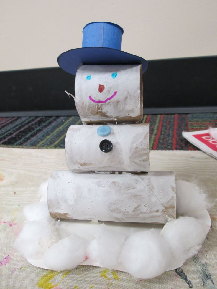 Snowman Craft With Toilet Paper Rolls Winter Crafts