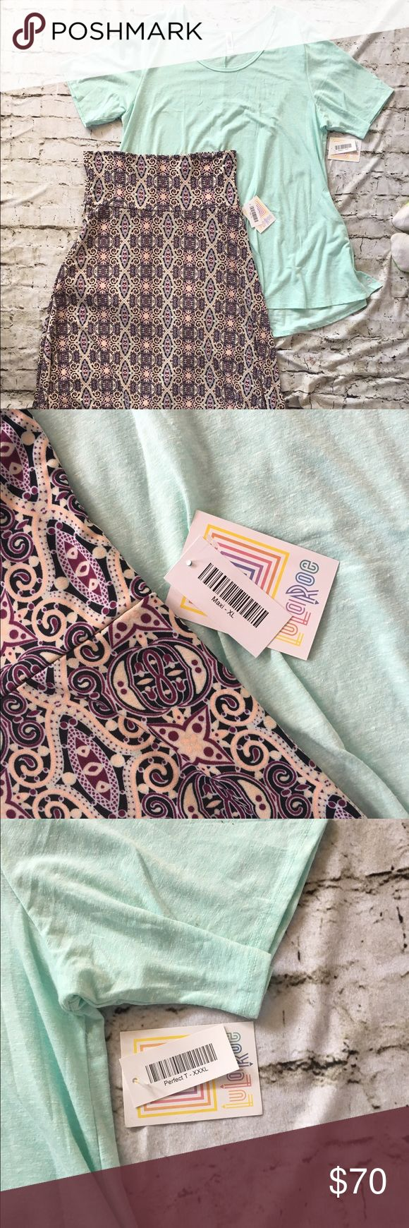 LuLaRoe Maxi Skirt & Perfect T Pretty Maxi skirt with ivory, purple and mint with matching mint colored swing top! LuLaRoe Other