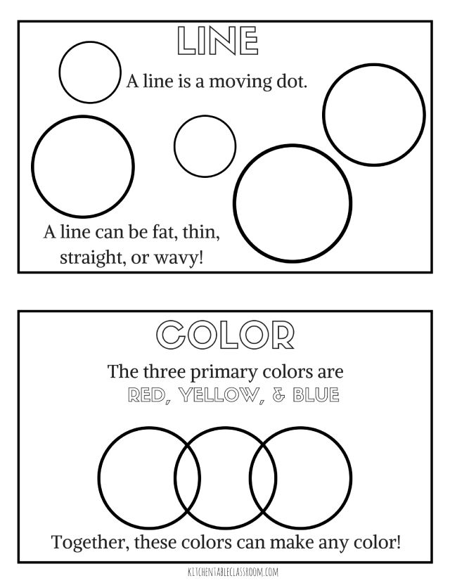 elements of art for kids with free printable book - Free Printable Art Worksheets