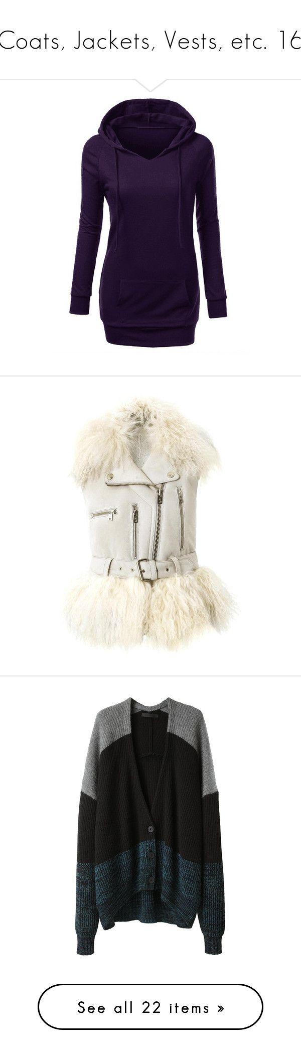 """Coats, Jackets, Vests, etc. 16"" by xx-black-blade-xx ❤ liked on Polyvore featuring tops, hoodies, purple hoodie, sweatshirt hoodies, long sleeve hooded sweatshirt, long tops, purple hoodies, outerwear, vests and jackets"