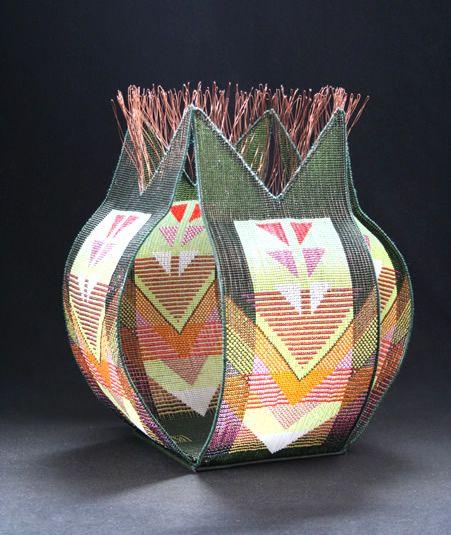 Vivaldi. Woven Glass Beads. 12.75 x 10.5 x 10.5 in. by Jeanette Ahlgren