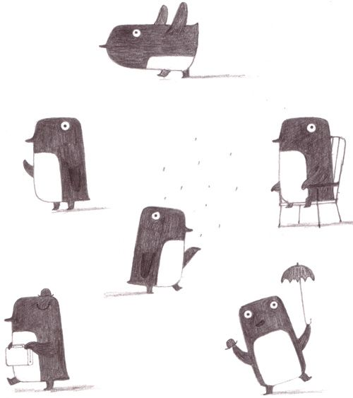 penguin sketches.