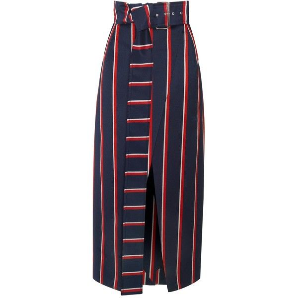 Solace London Apolline Skirt ❤ liked on Polyvore featuring skirts, red striped skirt, stripe skirt, navy striped skirt, red midi skirt and red wrap skirt