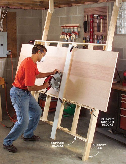 There was no room in my basement shop to cut full sheets of plywood. I always had to have the home center guy cut it down to size with his panel saw. What a hassle. I wanted my own panel saw, but I knew there was simply no room in my shop or budget. Then I came up with the solution: a lightweight, fold-down …