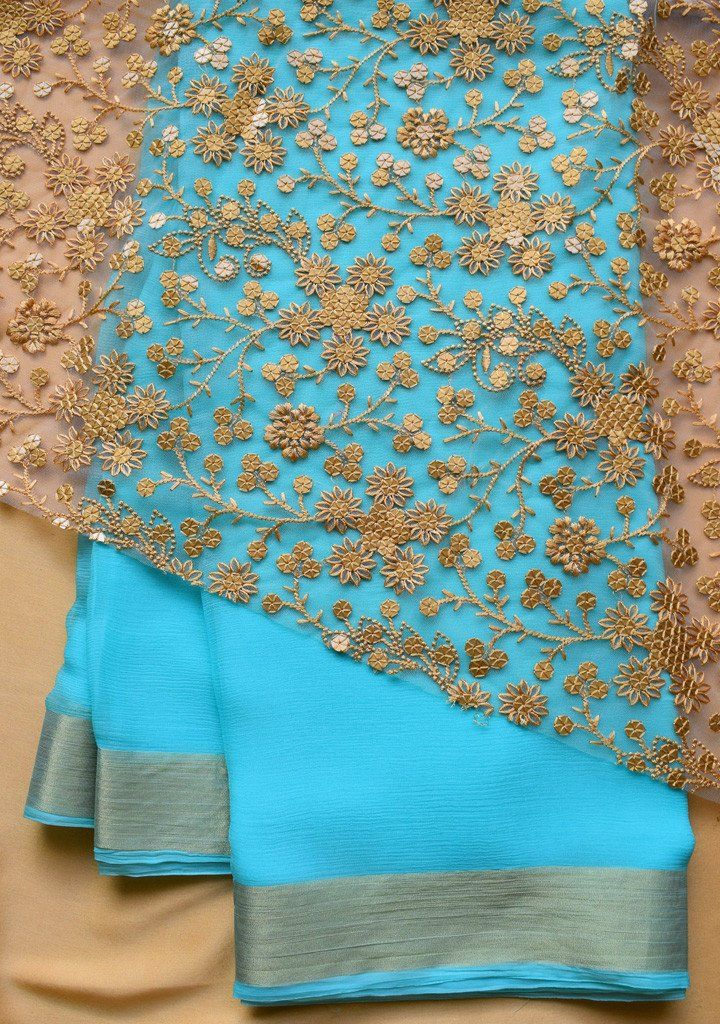 Blue Chiffon Saree with embroidered golden blouse piece – Rang Mohe                                                                                                                                                                                 More