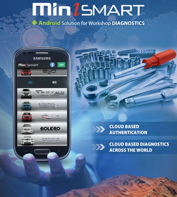MAHINDRA MINISMART DIAGNOSTIC APP LAUNCHED FOR TROUBLESHOOTING  Mahindra has launches the new android-based application is miniSMART, which is an advanced solution for the Mahindra dealers to troubleshooting the vehicles. With this Smartphone-based application, the dealers have to provide diagnostic solutions in a quicker manner for all Mahindra vehicles including all range of cars and utility vehicles in the segment of passenger vehicles and commercial vehicles.