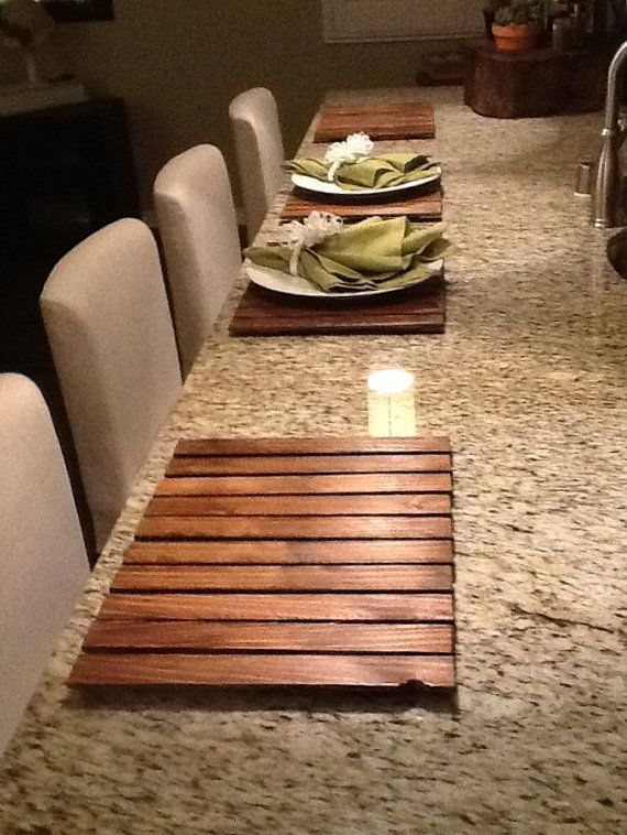Placemats Wooden Handmade Shabby Chic Design Set Of