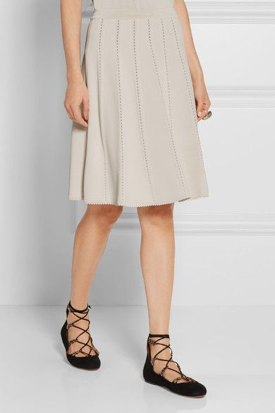 Elie Saab - Pointelle-trimmed Jersey Mini Skirt - SALE20 at Checkout for an extra 20% off