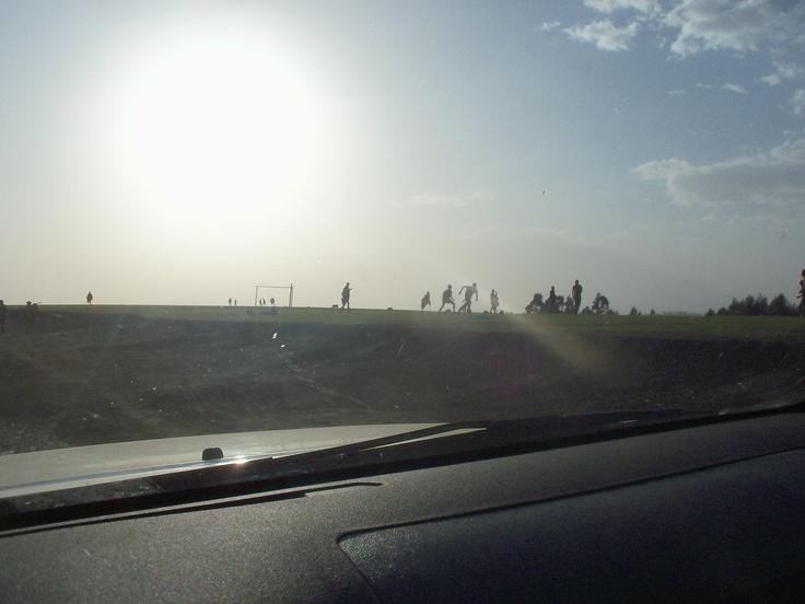 Football in ethiopian village.