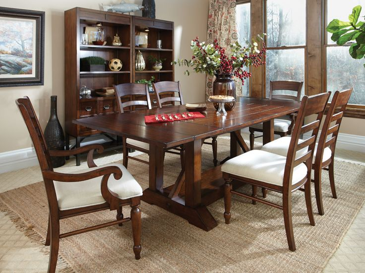 426 trestle table 6 chairs by klaussner at old brick furniture - Old Brick Dining Room Sets