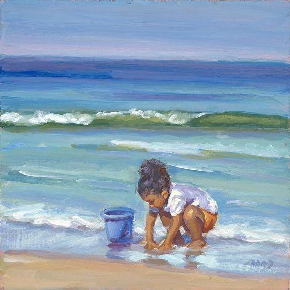 VENTA & libre envío Beach Babe chica hija playa océano Lucelle Raad arte lienzo giclee 9 x 9
