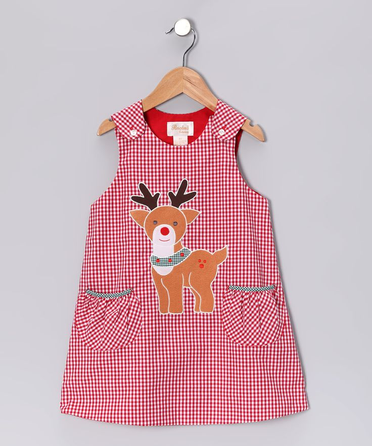 Red Gingham Reindeer Jumper
