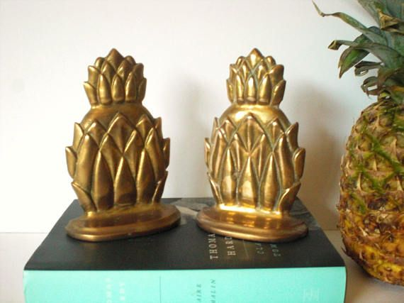 Pineapple Bookends Brass Pineapple Bookends Brass Bookends