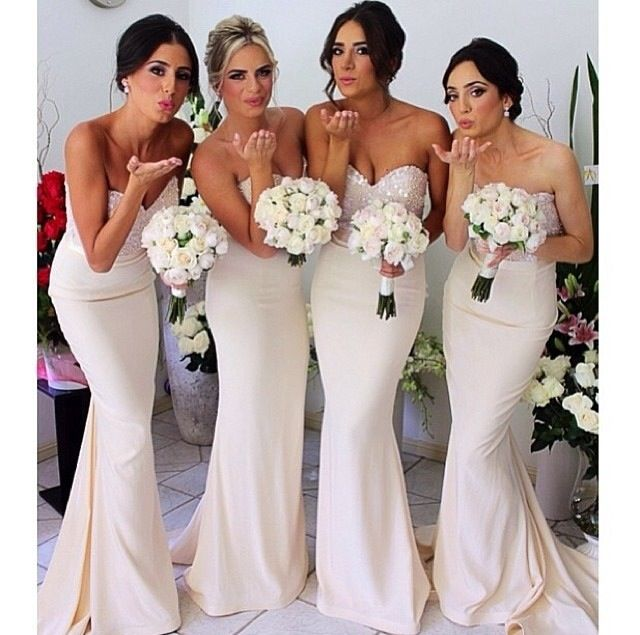 Elegant bridesmaids dresses with the perfect amount of crystal sequin details