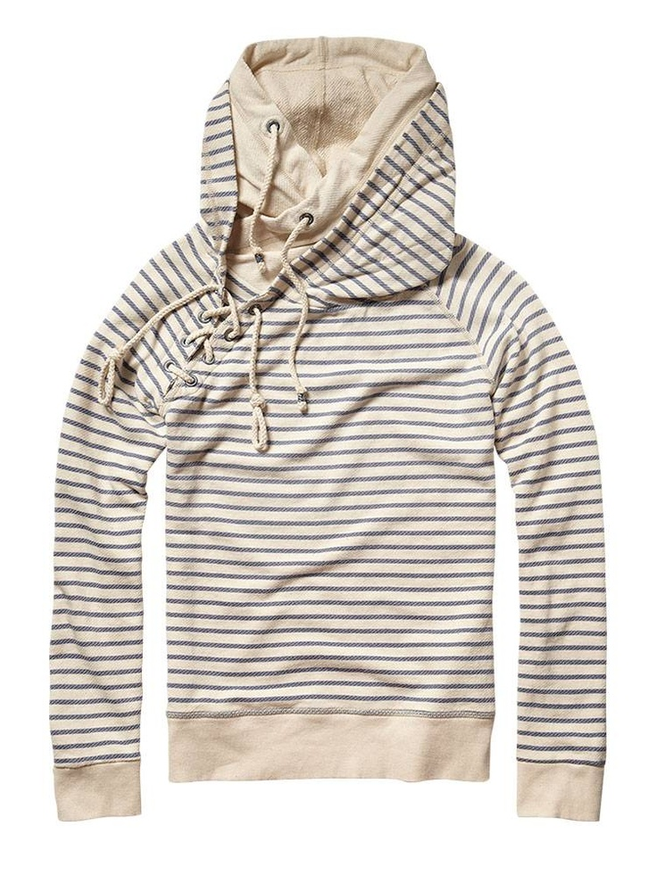 Sailor Lace up Sweater with Double Hood