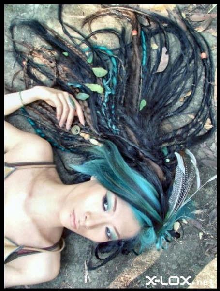 blue dreads/dread locks