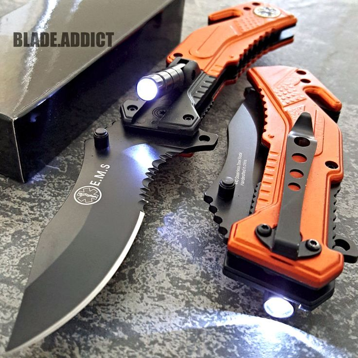 TAC-FORCE Orange EMT Spring Assisted Open LED Tactical Rescue Pocket Knife NEW!!