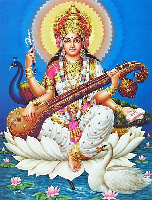 Saraswati - Goddess of Music - Hindu Posters (Reprint on Glazed Paper - Unframed)
