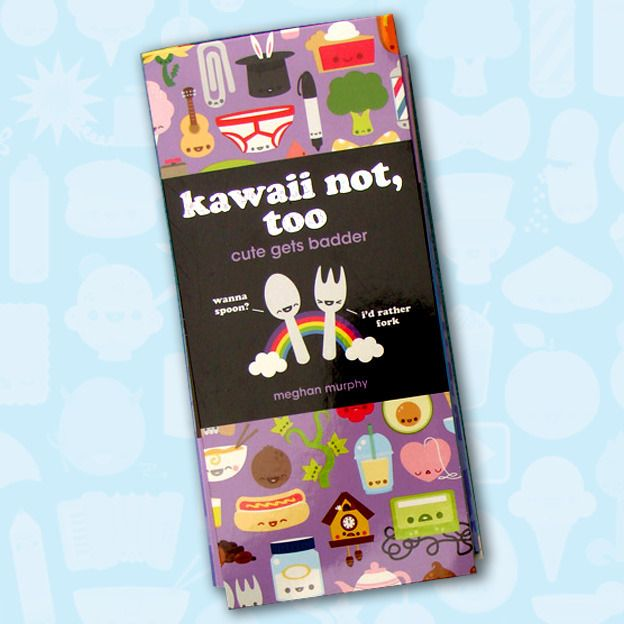 """Kawaii Not Too: Cute Gets Badder is the second collection of Kawaii Not comics. Now you can add more weirdness to your bookshelf! The book includes:- 100 comics- two pages of stickers- a collection of """"kawaii-kus""""- adorable and twisted diagrams* plus each page is perforated for sharing with friends (or enemies.)$15 for a signed copy (with a random mini sketch!)"""