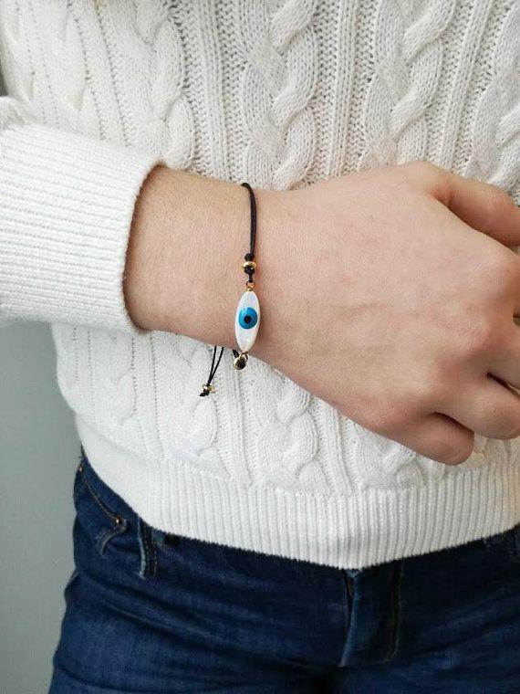 Blue eye bracelet, mother of pearl, oval blue eye on black cord, blue eye macrame bracelet, eye friendship bracelet, eye boho cuff