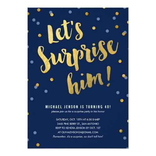 Best 25 surprise birthday invitations ideas on pinterest diy gold lettering surprise party invitations for him stopboris Image collections