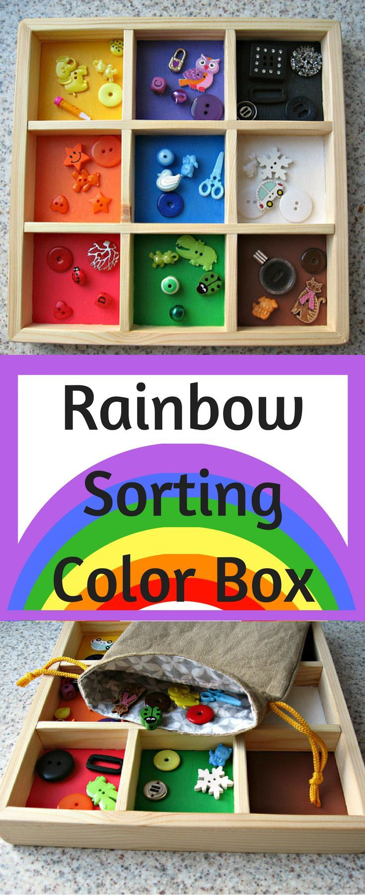 Rainbow Sorting Color Box - Practice sorting items by color and improve fine motor skills, learn colors, and practice counting. #etsy #handmade #waldorf #montessori #preK #kindergarten #ad
