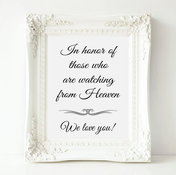 Memorial Wedding Sign In Honor Of Those Who Are In by OrchardBerry