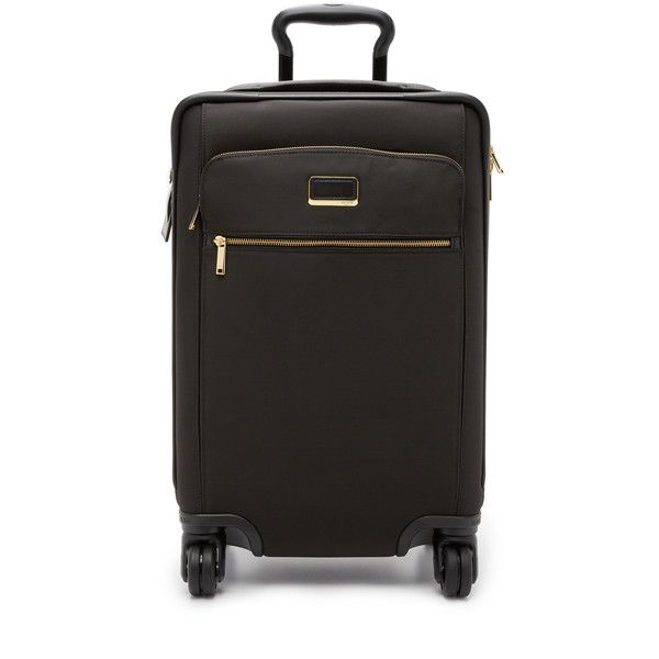 Tumi International Carry On 4 Wheel Suitcase ($685) ❤ liked on Polyvore featuring bags, luggage and black