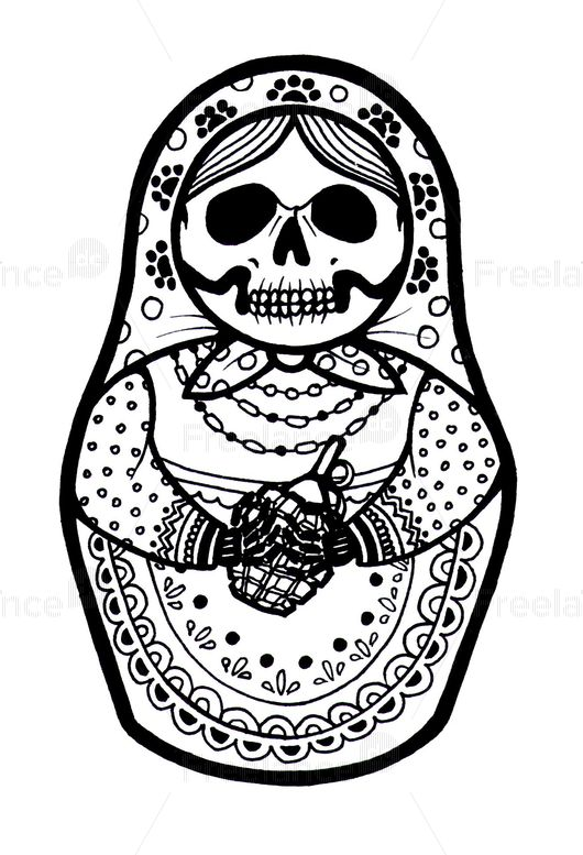 Matryoshka with a grenade. Ideas for tattoos. Buy ready-made logos and vector images.