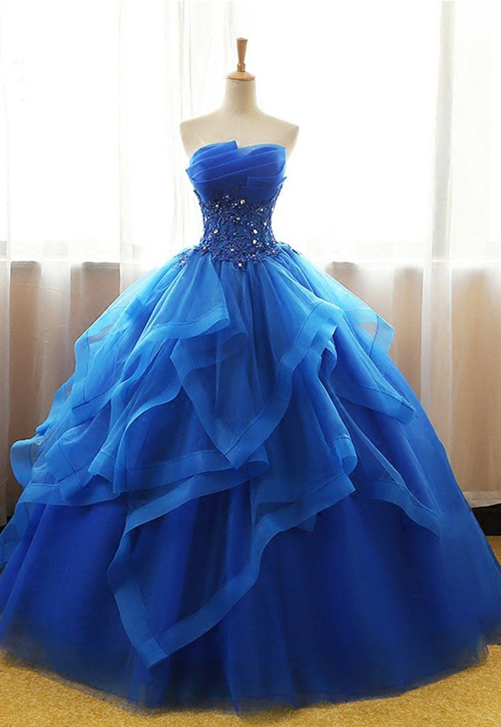 Sweetheart royal blue tulle long ball gown, strapless lace up long evening dress, formal prom dresses