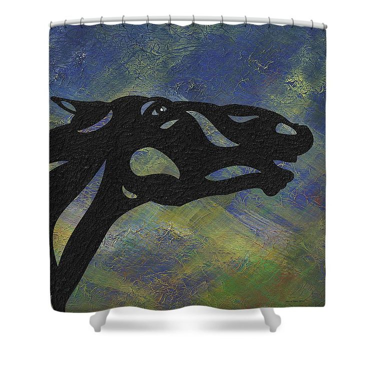 Fred - Abstract Horse Shower Curtain by Manuel Süess | Learn more: http://artprintsofmanuel.com/products/fred-abstract-horse-manuel-sueess-shower-curtain.html